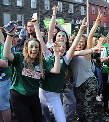 Hibernian Scottish Cup Open Top Bus Edinburgh 14 May 2016; Hibs fans cheer during the open top bus parade in Edinburgh after winning the Scottish Cup.<br /> <br /> (c) Chris McCluskie | Edinburgh Elite media