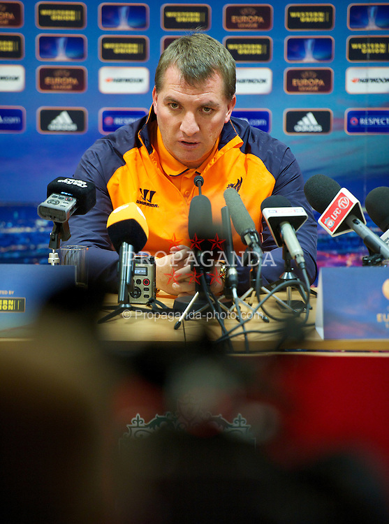 LIVERPOOL, ENGLAND - Wednesday, November 21, 2012: Liverpool's manager Brendan Rodgers during a press conference at Anfield ahead of the UEFA Europa League Group A match against BSC Young Boys. (Pic by David Rawcliffe/Propaganda)