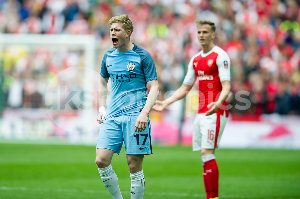 Kevin De Bruyne of Manchester City during the The FA Cup Semi Final match between Arsenal and Manchester City at Wembley Stadium, London, England on 23 April 2017. Photo by Salvio Calabrese.