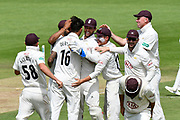 Wicket - Surrey players celebrate after Joe Weatherley of Hampshire is run out during the Specsavers County Champ Div 1 match between Hampshire County Cricket Club and Surrey County Cricket Club at the Ageas Bowl, Southampton, United Kingdom on 11 June 2018. Picture by Graham Hunt.