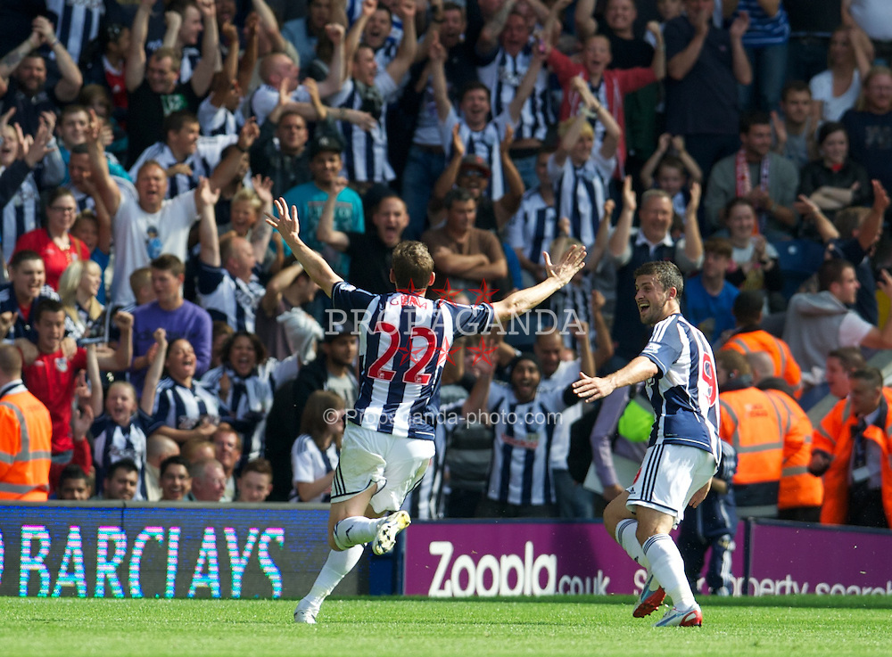WEST BROMWICH, ENGLAND - Saturday, August 18, 2012: West Bromwich Albion's Zoltan Gera celebrates scoring the first goal against Liverpool during the opening Premiership match of the season at the Hawthorns. (Pic by David Rawcliffe/Propaganda)
