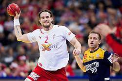 Thomas M. Morgensen of Denmark vs Victor Tomas of Spain during handball match between Denmark and Spain in 1st Semifinal at 10th EHF European Handball Championship Serbia 2012, on January 27, 2012 in Beogradska Arena, Belgrade, Serbia. Denmark defeated Spain 25-24. (Photo By Vid Ponikvar / Sportida.com)