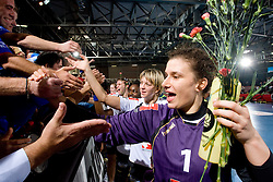 Goalkeeper of Krim Jelena Grubisic at handball match of Round 2 of Champions League between RK Krim Mercator and Aalborg DH, on October 31, 2009, in Arena Kodeljevo, Ljubljana, Slovenia.  Krim won 30:23. (Photo by Vid Ponikvar / Sportida)