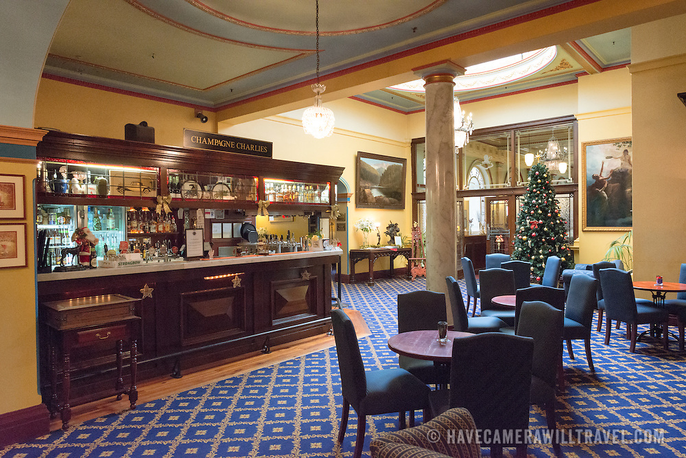 The bar, Champagne Charlies, inside the historic Carrington Hotel in Katoomba in the Blue Mountains of New South Wales, Australia. The Carrington is an historic hotel established in 1880.