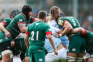 Graham Kitchener of Leicester Tigers (right) tussling with Josh Furno of Newcastle Falcons (second left) during the Aviva Premiership match at Welford Road, Leicester<br /> Picture by Andy Kearns/Focus Images Ltd 0781 864 4264<br /> 06/09/2014