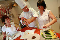 "Lenotre Ecole Culinaire, Paris,..short course - ""Return to the Market"" with Chef Jacky Legras..stuffing the zucchini flowers with a mixture of rice and vegetables..photo by Owen Franken for the NY Times..July 12, 2007......."