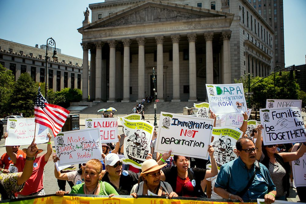 NEW YORK, NY - JUNE 24, 2016: Protesters demonstrate in Foley Square in New York, NY, following a United States Supreme Court ruling that upended President Barack Obama's immigration policy. CREDIT: Sam Hodgson for The New York Times.