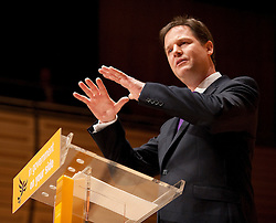 © London News Pictures. 11/03/2012.  Gateshead, UK. Leader of the Liberal Democrats NICK CLEGG delivering his leaders speech on the final day of the Liberal Democrat Spring conference at the Sage Gateshead on March 11th, 2012. Photo credit : Ben Cawthra/LNP