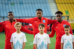 Jonathan Panzo of England, Joe Willock of England and Edward Nketiah of England before friendly Football match between U21 national teams of Slovenia and England, on October 11, 2019 in Ljudski Vrt, Maribor, Slovenia. Photo by Blaž Weindorfer / Sportida