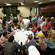 Roger Federer takes part in the ATP All-Access Hour at the Indian Wells Tennis Garden in Indian Wells, California Tuesday, March 11, 2015.<br /> (Photo by Billie Weiss/BNP Paribas Open)