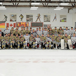 TRENTON, ON - Nov 26 : Ontario Junior Hockey League International Exhibition, between the Trenton Golden Hawks and the visiting Adler Mannheim from Germany,<br /> (Photo by Amy Deroche / OJHL Images)
