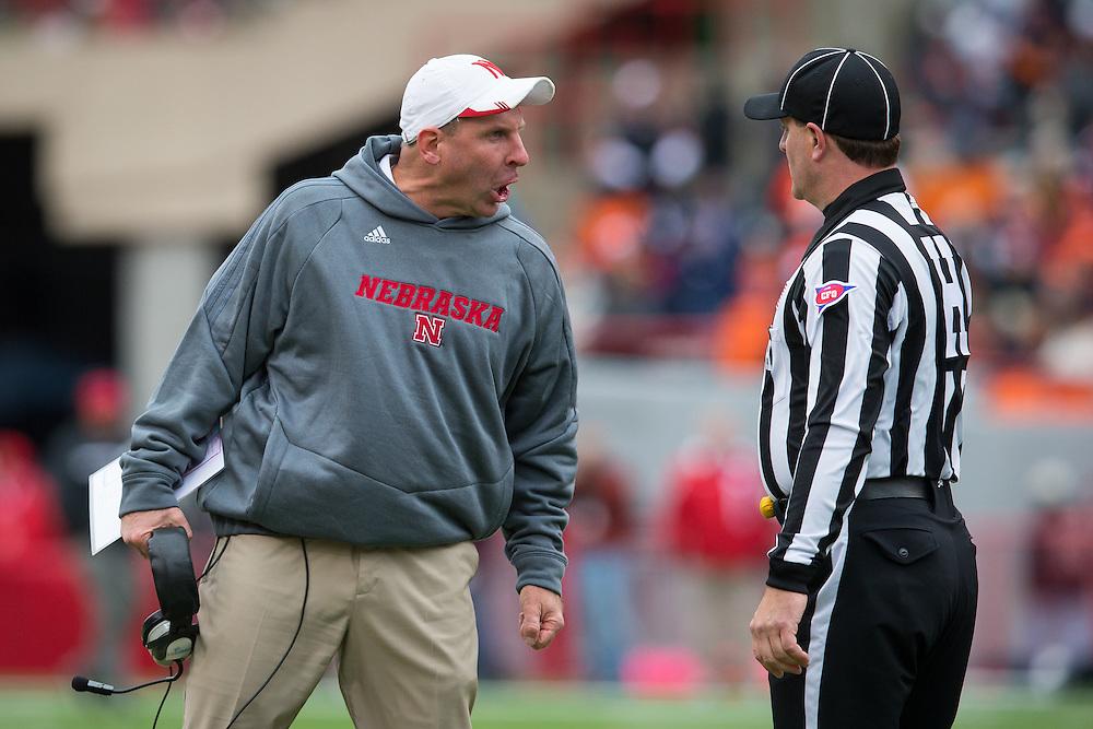 Nebraska head coach Bo Pelini yells at an official during Nebraska's 39-19 victory over Illinois on Oct. 5, 2013.<br /> Photo by Scott Bruhn