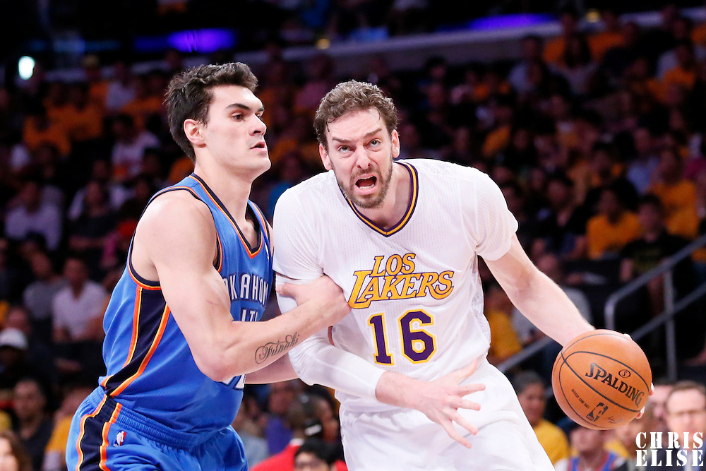09 March 2014: Los Angeles Lakers center Pau Gasol (16) drives past Oklahoma City Thunder power forward Nick Collison (4) during the Los Angeles Lakers 114-110 victory over the Oklahoma City Thunder at the Staples Center, Los Angeles, California, USA.