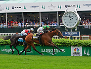 Proctor's Ledge, ridden by jockey John Velazquez, wins the Longines Churchill Distaff Turf Mile, Friday, May 4, 2018 at Churchill Downs in Louisville, Ky.  Longines, the Swiss watch manufacturer known for its luxury timepieces, is the Official Watch and Timekeeper of the 144th annual Kentucky Derby. (Photo by Diane Bondareff/Invision for Longines/AP Images)