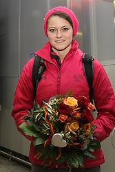 14.02.2014, Fraport, Fankfurt, GER, Sochi, 2014, Ankunft, im Bild Carina Vogt am Frankfurter Flughafen, Olympiasiegerin, Gold Medaillien-Gewinnerin, // during the Arrival of Olympic Skijumping Champion Carina Vogt at the Fraport in Fankfurt, Germany on 2014/02/14. EXPA Pictures © 2014, PhotoCredit: EXPA/ Eibner-Pressefoto/ RRZ<br /> <br /> *****ATTENTION - OUT of GER*****