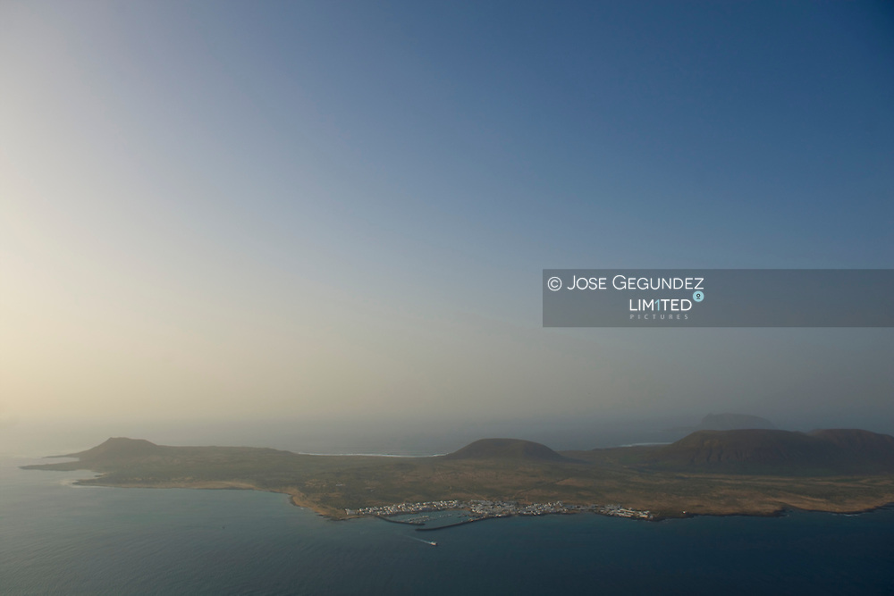 Island of La Graciosa to the north of Lanzarote Island from the viewpoint of the Mirador del Rio, from the Architect Cesar Manrique