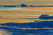 Ice on Lake Huron at dusk<br /> South Baymouth. Manitoulin Island<br /> Ontario<br /> Canada