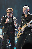 Bono and Adam perform on stage at Rogers Arena during the U2 Vertigo tour in Vancouver, B.C. (Marissa Baecker/Shoot the Breeze)
