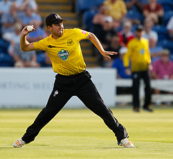Gloucestershire's Ryan Higgins throws in<br /> <br /> Photographer Simon King/Replay Images<br /> <br /> Vitality Blast T20 - Round 8 - Glamorgan v Gloucestershire - Friday 3rd August 2018 - Sophia Gardens - Cardiff<br /> <br /> World Copyright © Replay Images . All rights reserved. info@replayimages.co.uk - http://replayimages.co.uk