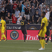 Philadelphia Union Midfielder ILSON PEREIRA DIAS (25)  celebrates his goal in the 20 minute in the first half of a Major League Soccer match between the Philadelphia Union and Columbus Crew SC Wednesday, July. 26, 2017, at Talen Energy Stadium in Chester, PA.