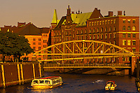 Canals in Speicherstadt (Warehouse District), Hafen City (along the harbor), Hamburg, Germany