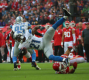 Kansas City Chiefs Sean Smith getting tackled during the Kansas City Chiefs v Detroit Lions  NFL International Series match at Wembley Stadium, London, England on 1 November 2015. Photo by Matthew Redman.