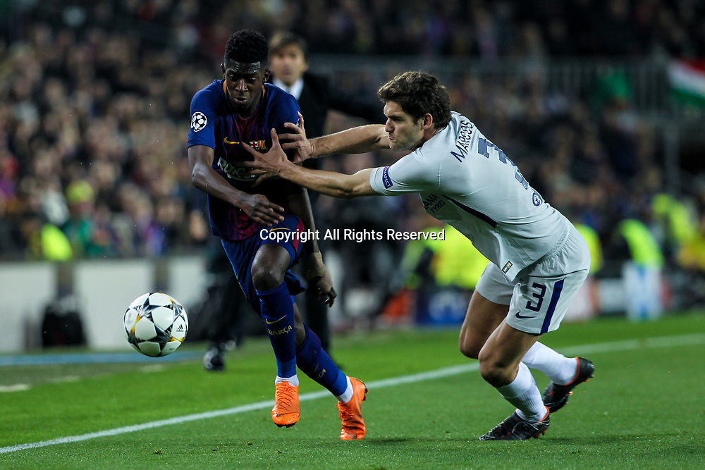 14th March 2018, Camp Nou, Barcelona, Spain; UEFA Champions League football, round of 16, 2nd leg, FC Barcelona versus Chelsea; Ousmane Dembele, #11 of Barcelona in action with Marcos Alonso, Chelsea FC player