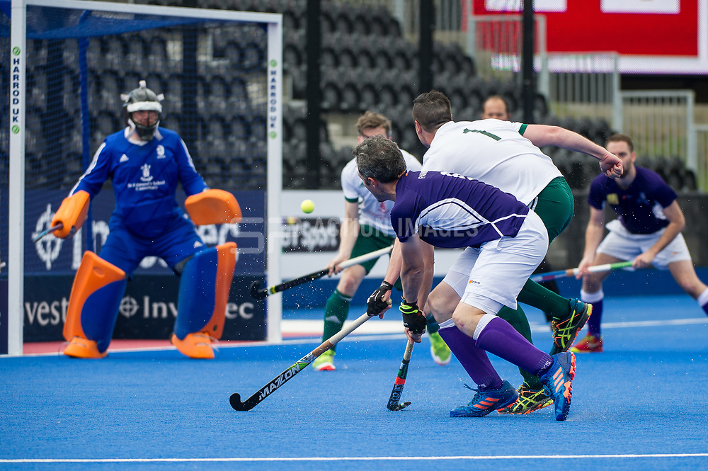 Duncan Parnis gets a goal back for Sevenoaks. Canterbury v Sevenoaks - Men's Hockey League Finals, Lee Valley Hockey & Tennis Centre, London, UK on 23 April 2017. Photo: Simon Parker