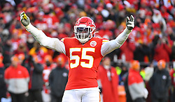 Jan 19, 2020; Kansas City, Missouri, USA; Kansas City Chiefs defensive end Frank Clark (55) celebrates after a play during the game against the Tennessee Titans at Arrowhead Stadium. Mandatory Credit: Denny Medley-USA TODAY Sports