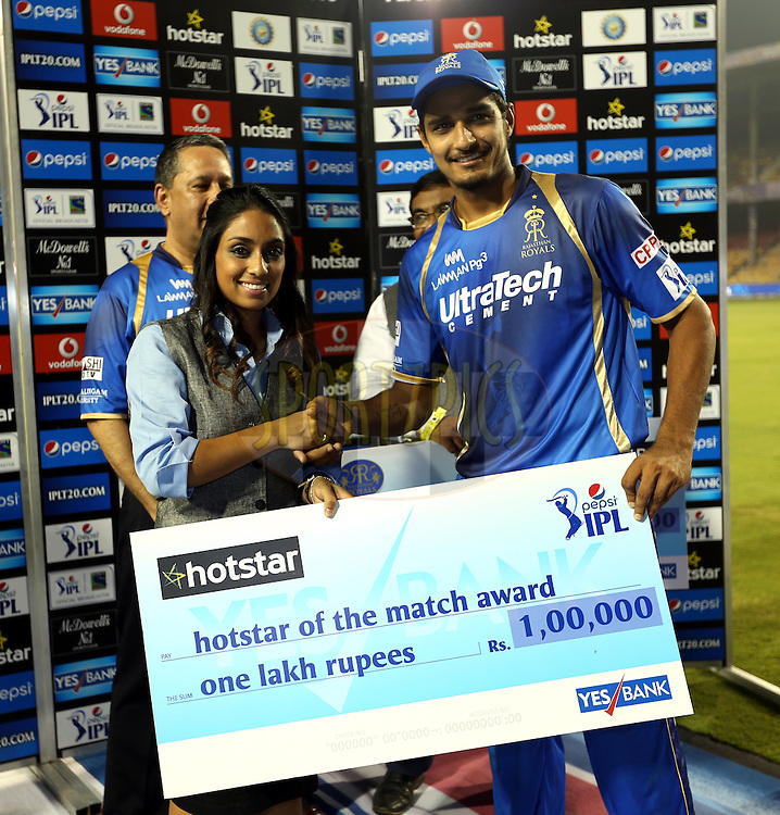 Rajasthan Royals player Deepak Hooda receives hotstar of the match award during the presentation of the match 9 of the Pepsi IPL 2015 (Indian Premier League) between The Rajasthan Royals and The Mumbai Indians held at the Sardar Patel Stadium in Ahmedabad , India on the 14th April 2015.<br /> <br /> Photo by:  Sandeep Shetty / SPORTZPICS / IPL