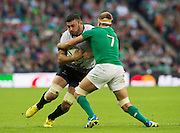 Wembley, Great Britain,   Chris HENRY, hangs onto Valentin POPARLAN, during the Pool D Game, Ireland vs Romania.  2015 Rugby World Cup, Venue, Wembley Stadium, London, ENGLAND.  Sunday  27/09/2015 <br /> <br /> Mandatory Credit; Peter Spurrier/Intersport-images]