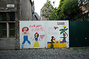 vandalized public art children drawing Gent Belgium