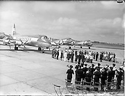 "27/05/1956<br /> 05/27/1956<br /> 27 May 1956<br /> Blessing of the Aer Lingus fleet at Dublin Airport. Prayers being said before Vickers Viscount ""Brendan"" and DC3's ""Colmcille"" and ""Malachy"". Note band in right foreground."