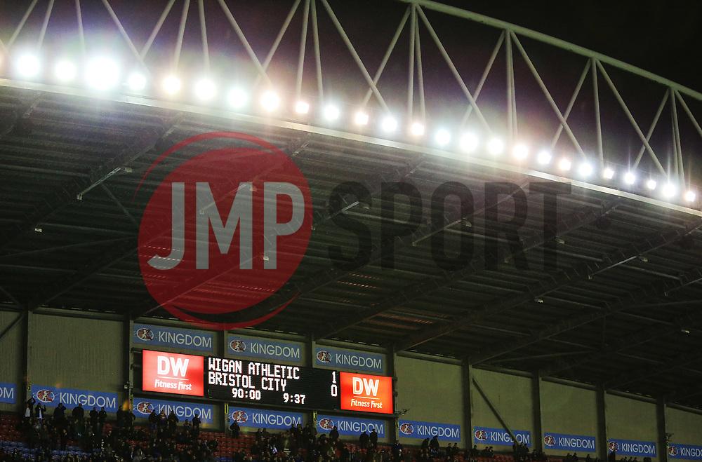 The final score reads Wigan Athletic 1-0 Bristol City - Mandatory by-line: Matt McNulty/JMP - 21/09/2018 - FOOTBALL - DW Stadium - Wigan, England - Wigan Athletic v Bristol City - Sky Bet Championship