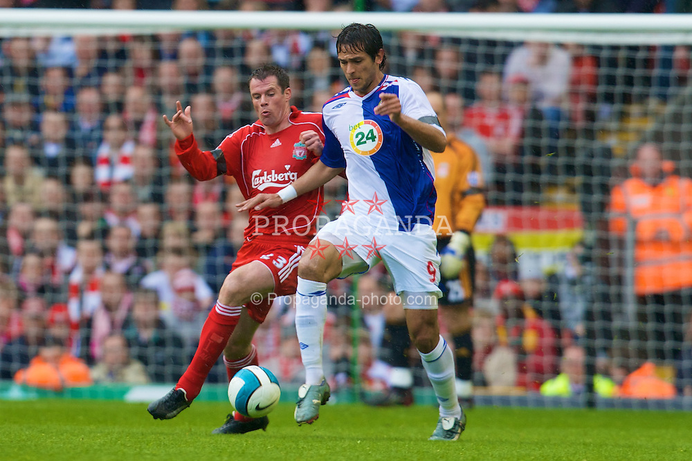 LIVERPOOL, ENGLAND - Sunday, April 13, 2008: Liverpool's Jamie Carragher and Blackburn Rovers' Roque Santa Cruz during the Premiership match at Anfield. (Photo by David Rawcliffe/Propaganda)