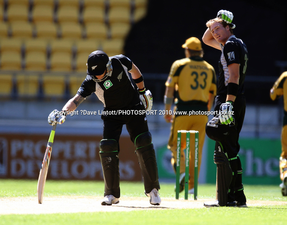 NZ opening batsmen Brendon McCullum and Martin Guptill.<br /> Fifth Chappell-Hadlee Trophy one-day international cricket match - New Zealand v Australia at Westpac Stadium, Wellington. Saturday, 13 March 2010. Photo: Dave Lintott/PHOTOSPORT