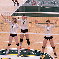 2nd year middle blocker Brooklyn Reynolds (10) of the Regina Cougars in action during Women's Volleyball home game on November 3 at Centre for Kinesiology, Health and Sport. Credit: Casey Marshall/Arthur Images