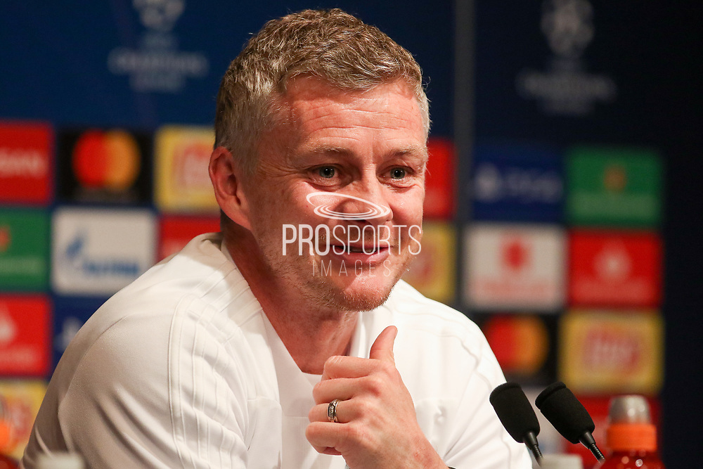 Manchester United interim Manager Ole Gunnar Solskjaer smiling during the Manchester United Press Conference ahead of the Champions League match between Paris Saint-Germain and Manchester United at Parc des Princes, Paris, France on 5 March 2019.