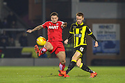 Chesterfield FC midfielder Chris Herd wins the ball ahead of Burton Albion midfielder Tom Naylor during the Sky Bet League 1 match between Burton Albion and Chesterfield at the Pirelli Stadium, Burton upon Trent, England on 12 February 2016. Photo by Aaron Lupton.