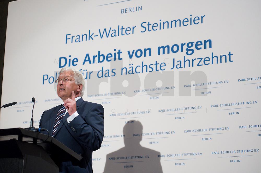 """03 AUG 2009, BERLIN/GERMANY:<br /> Frank-Walter Steinmeier, SPD, Bundesaussenminister und Kanzlerkandidat, Veranstaltung der Karl-Schiller-Stiftung zum Thema """"Die Arbeit von morgen - Politik fuer das naechste Jahrzehnt"""", Baerensaal, Altes Stadthaus<br /> IMAGE: 20090803-02-071<br /> KEYWORDS: Deutschland-Plan, Rede, speech"""