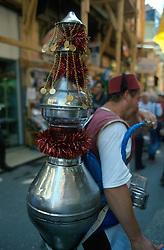 TURKEY ISTANBUL JUL02 - An oriental Tea-seller in Sultanahmed, Old Istanbul...jre/Photo by Jiri Rezac..© Jiri Rezac 2002..Contact: +44 (0) 7050 110 417.Mobile:   +44 (0) 7801 337 683.Office:    +44 (0) 20 8968 9635..Email:     jiri@jirirezac.com.Web:     www.jirirezac.com