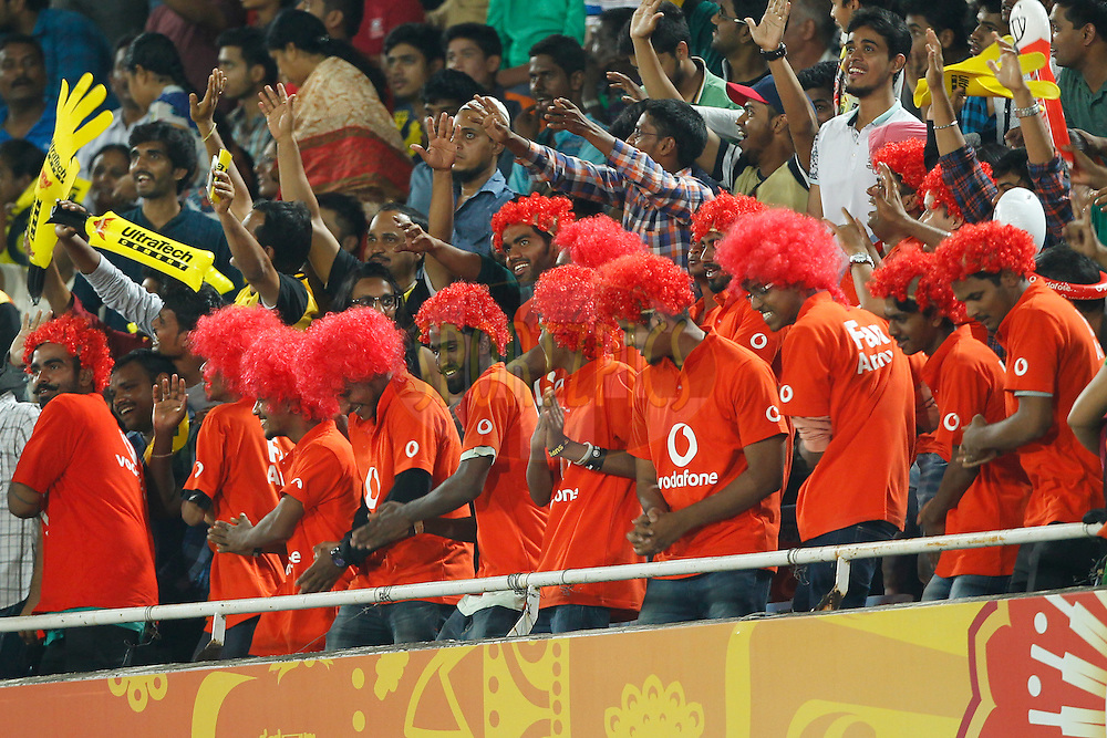 Vodafone Fan Army during match 42 of the Vivo IPL 2016 (Indian Premier League ) between the Sunrisers Hyderabad and the Delhi Daredevils held at the Rajiv Gandhi Intl. Cricket Stadium, Hyderabad on the 12th May 2016<br /> <br /> Photo by Deepak Malik / IPL/ SPORTZPICS