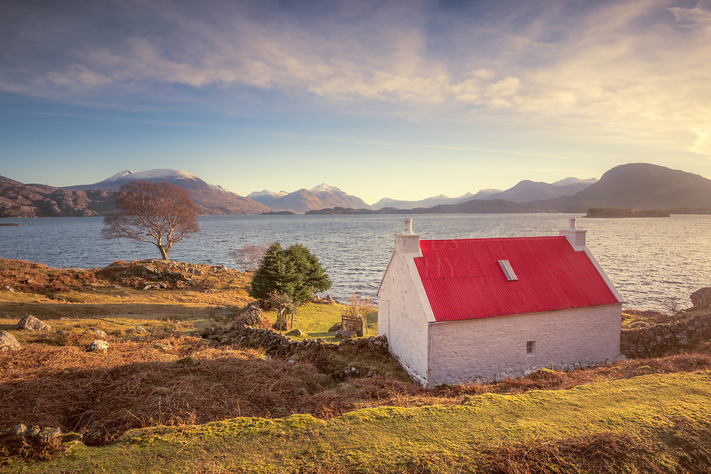 Cottage, Loch Shieldaig, Applecross peninsula Torridon