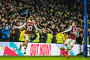 Jack Grealish (Capt) (Aston Villa) celebrates the goal 1-1 with Aston Villa FC supporters during the Premier League match between Brighton and Hove Albion and Aston Villa at the American Express Community Stadium, Brighton and Hove, England on 18 January 2020.