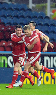 Adam Clayton of Middlesbrough celebrates scoring the opening goal during the Sky Bet Championship match at the John Smiths Stadium, Huddersfield<br /> Picture by Graham Crowther/Focus Images Ltd +44 7763 140036<br /> 28/11/2015