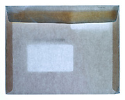 back view of a large first class mail business envelope