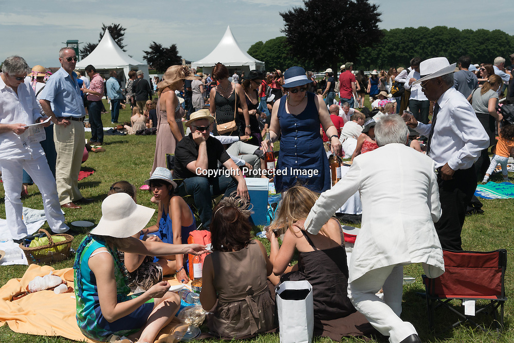 France. picnic of families . the Grand Prix de Diane horse race in Chantilly, France, 16 June 2013. This race is one of the most prestigious horse races in France