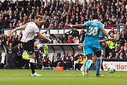 Derby County forward Chris Martin scores for Derby County during the Sky Bet Championship match between Derby County and Wolverhampton Wanderers at the iPro Stadium, Derby, England on 18 October 2015. Photo by Aaron Lupton.