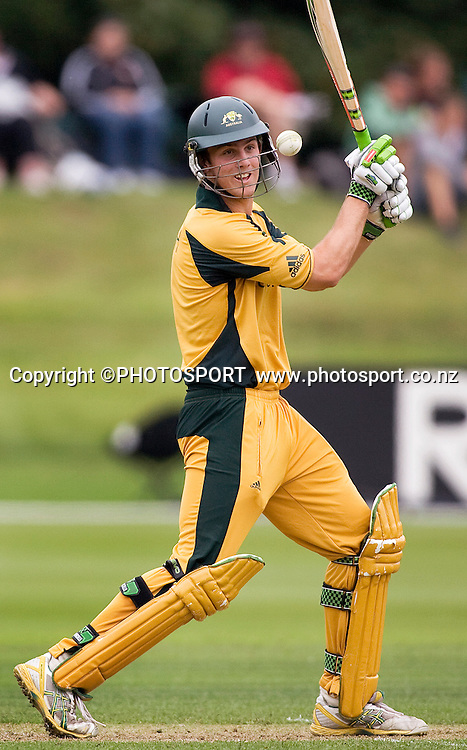 Australian batsman Mitchell Marsh during his innings of 53. New Zealand v Australia, U19 Cricket World Cup Quarter Final, Mainpower Oval, Rangiora, Sunday 24 January 2010. Photo : Joseph Johnson/PHOTOSPORT