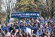 Brooklyn, NY - 17 April 2016. Vermont Senator Bernie Sanders gestures to the crowd in response to their acknowledging the average contribution to his campaign of $27. Sanders, who is running as a Democrat in the U.S. Presidential primary elections, accepts no money from Political Action Committees (PACs) or business interests..